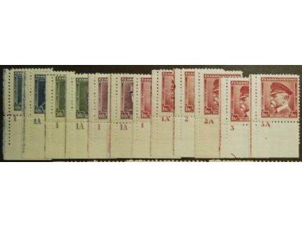 1935, 40h-1Kč série Osobnosti, roh. ks s DČ, kompletní sestava DČ