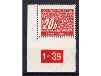 20h červená, levý roh. kus s DČ 1-39, varianta Y, Nr.DL3, **