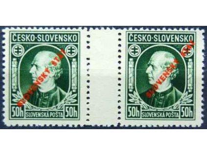 1939, 50h Hlinka, 2známkové meziarší, Slov.spec.Nr.S23A, **