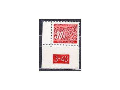 30h červená, roh. kus s DČ 3-40 varianta Lx, Nr.DL4, **