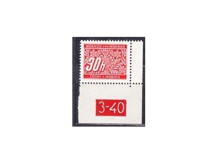 30h červená, roh. kus s DČ 3-40 varianta Px, **