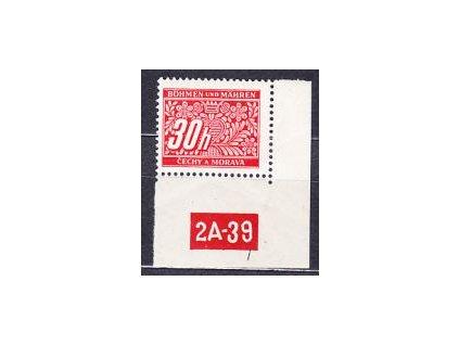 30h červená, roh. kus s DČ 2A-39 varianta Py, **