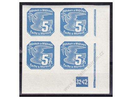 5h modrá, pravý roh. 4blok s DČ 32-42, Nr.NV2, **
