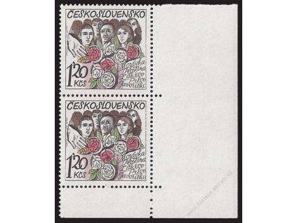 1975, 1.20Kčs Obce, DV vryp v růži + čárka, **