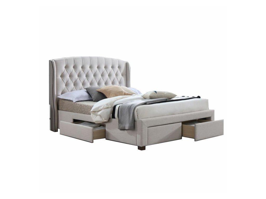 Krémová postel s úložným prostorem AKANA 160 x 200 cm