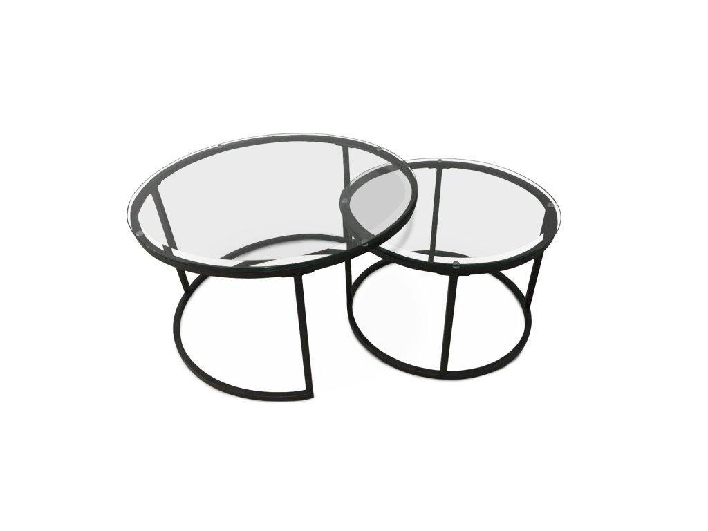 Set dvou konferenčních stolků, tvrzené sklo / kov, KALERO
