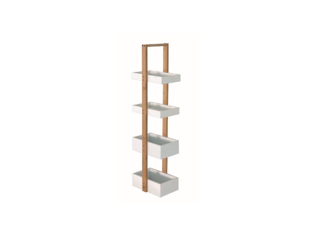 Regál, přírodní bambus / bílá, SLIME