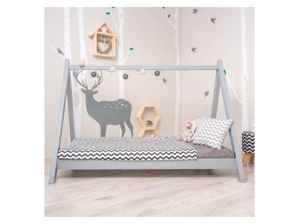 Šedá domečková Montessori postel GROSI