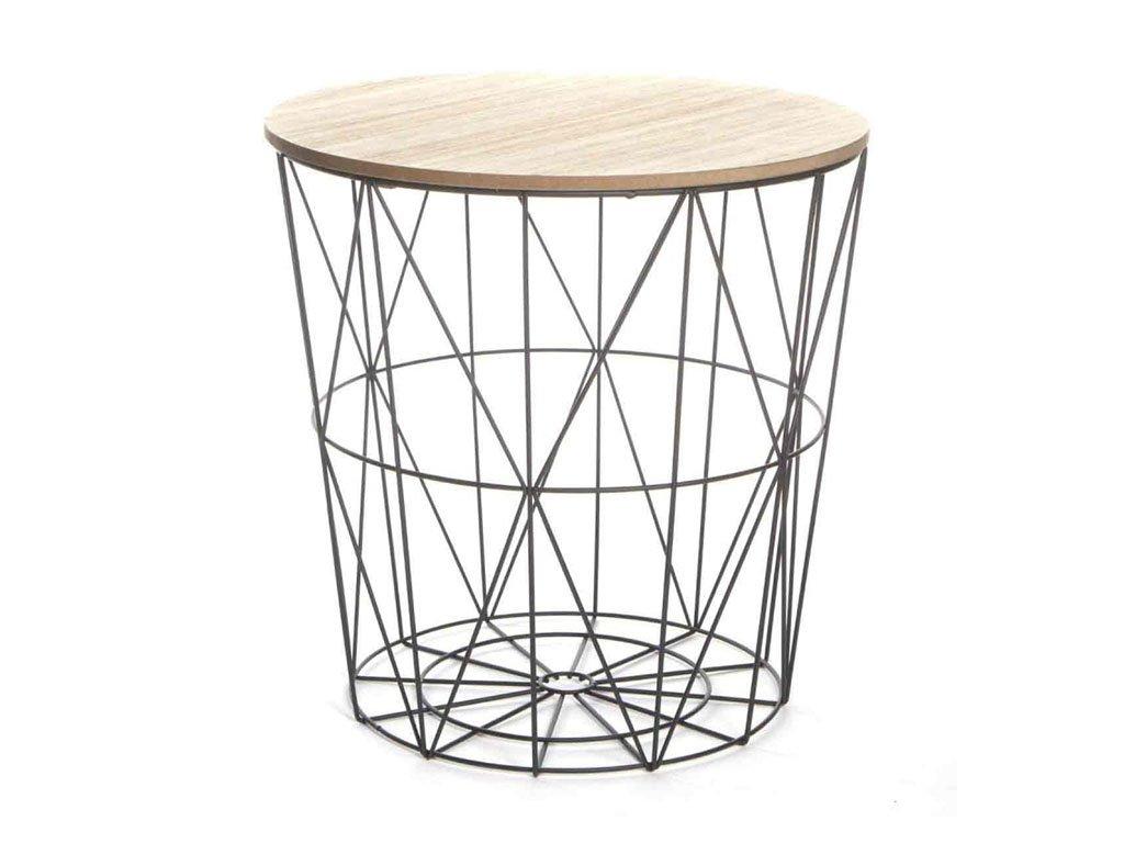 Příruční stolek, přírodní / černá, NANCER