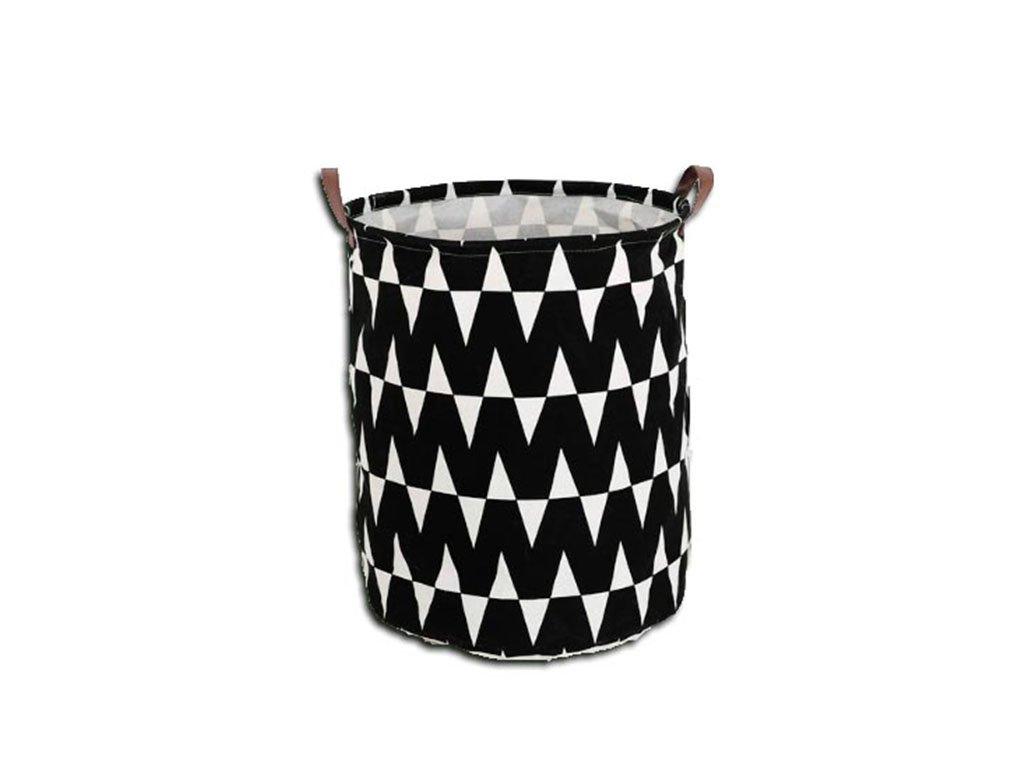 Černý koš na prádlo s bílým vzorem PLEJO TYP 1