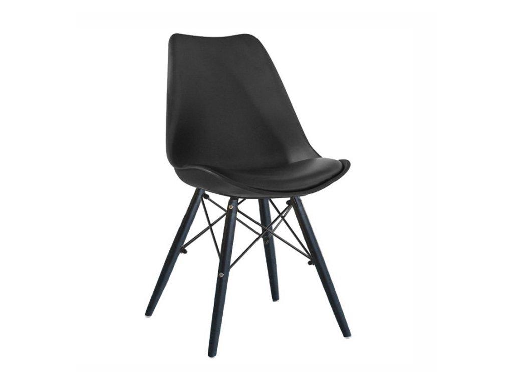 Židle, černá / dřevo, KEMAL NEW