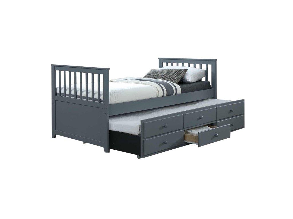 Šedá postel s přistýlkou AUSTIN NEW 90 x 200 cm