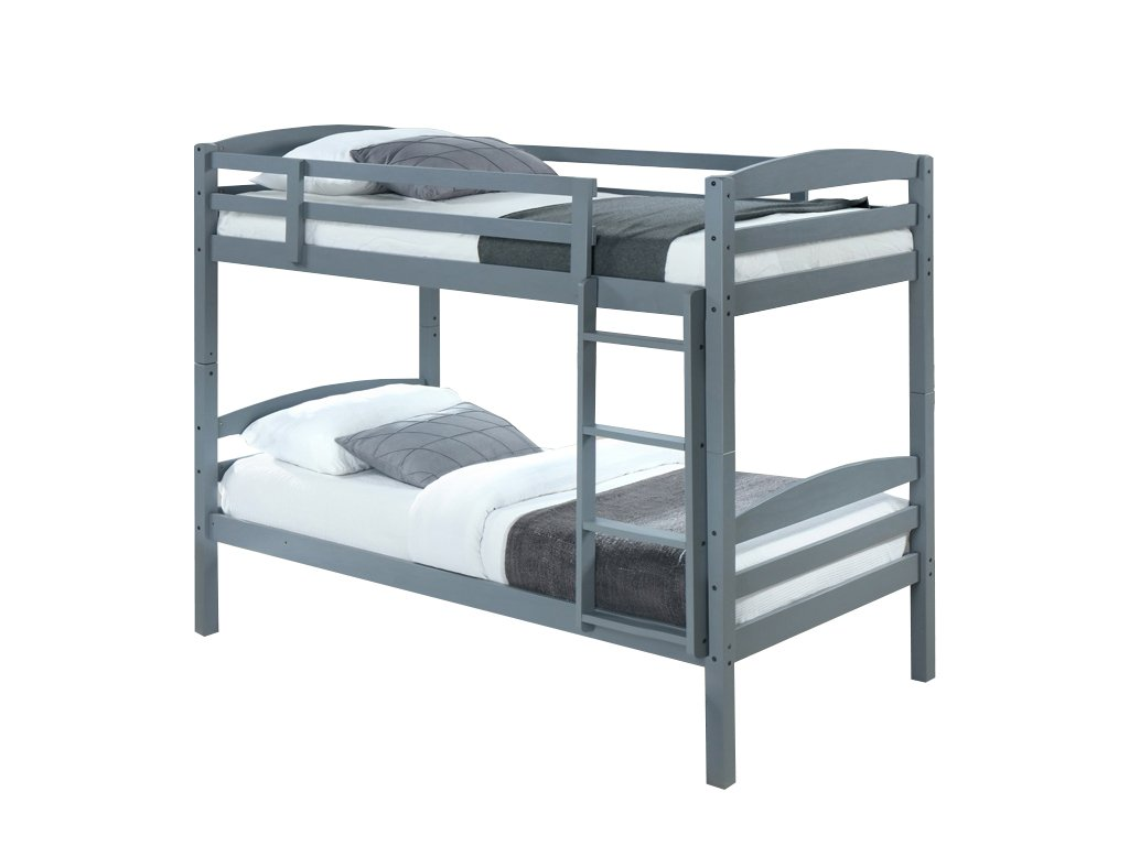Šedá patrová postel FORKOLA 90 x 200 cm