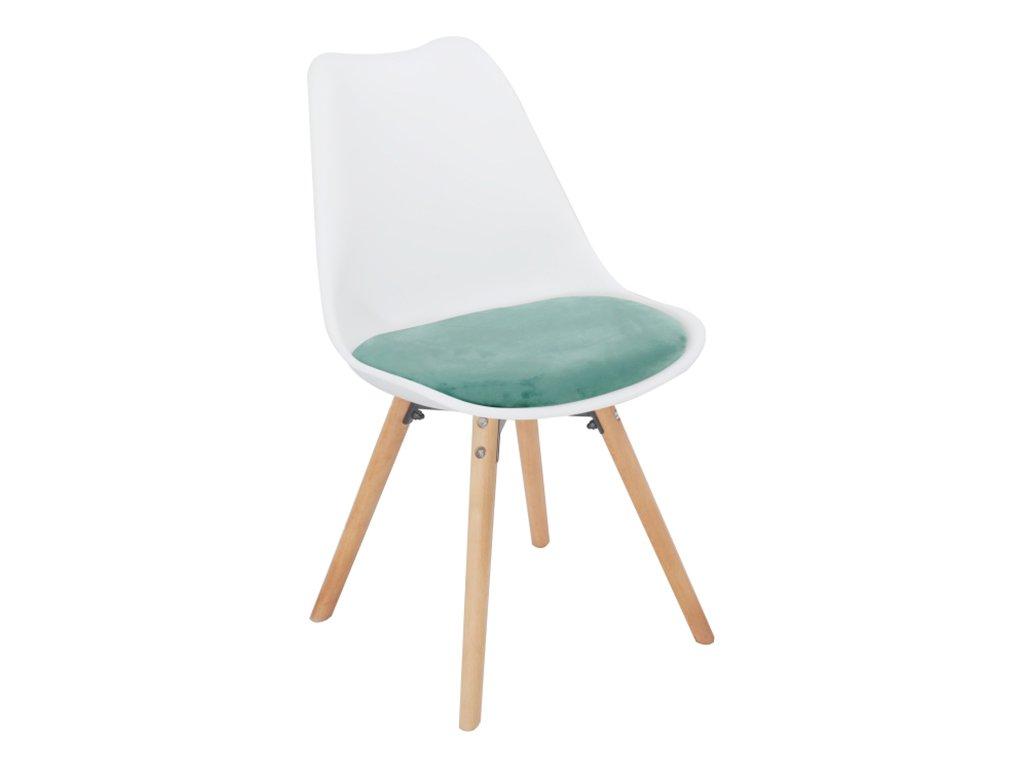 Židle, mentolový samet / bílý plast / buk, SEMER NEW