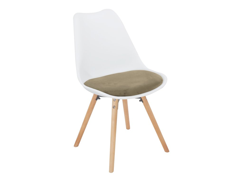 Židle, šedohnědý taupe samet  / bílý plast / buk, SEMER NEW