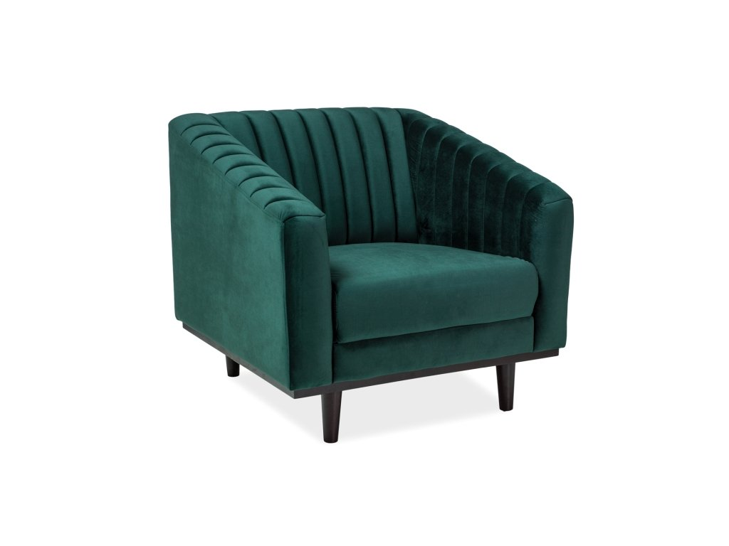 Relaxační křeslo, zelený samet / wenge, ASPREY 1 VELVET