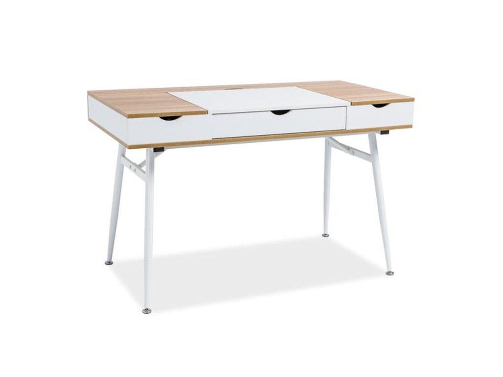 Bílý psací stůl s deskou v dekoru dub B-151