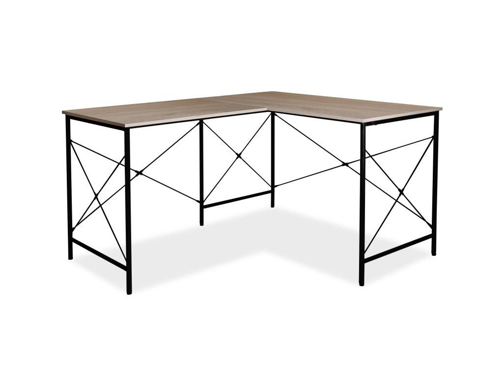 Psací stůl, dub / černá, B-182