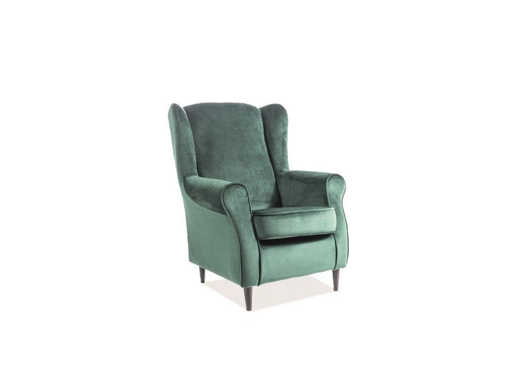 Zelené relaxační křeslo BARON VELVET