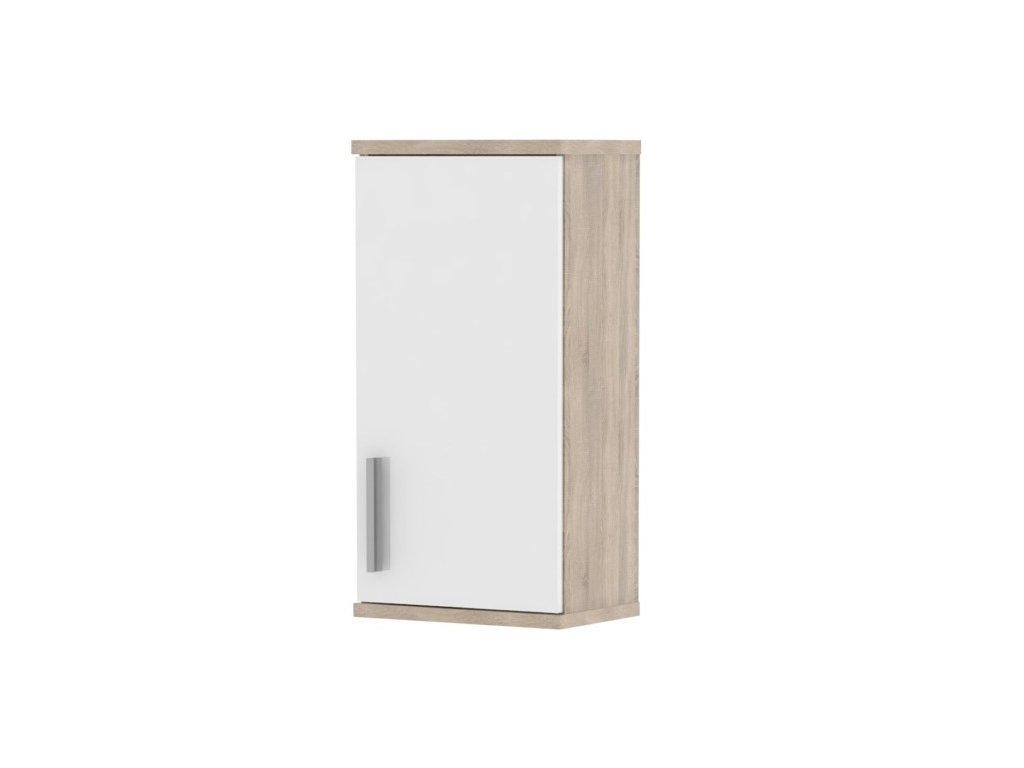 Bílá horní koupelnová skříňka s dekorem dub sonoma LESSY LI 04