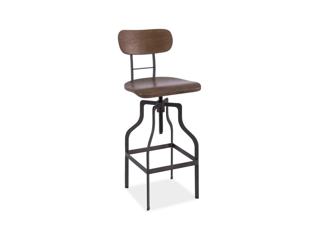 Barová židle z masivu v dekoru ořech HOKER DROP