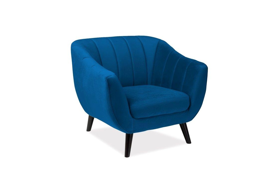 Relaxační křeslo, modrý samet / wenge, ELITE 1 VELVET