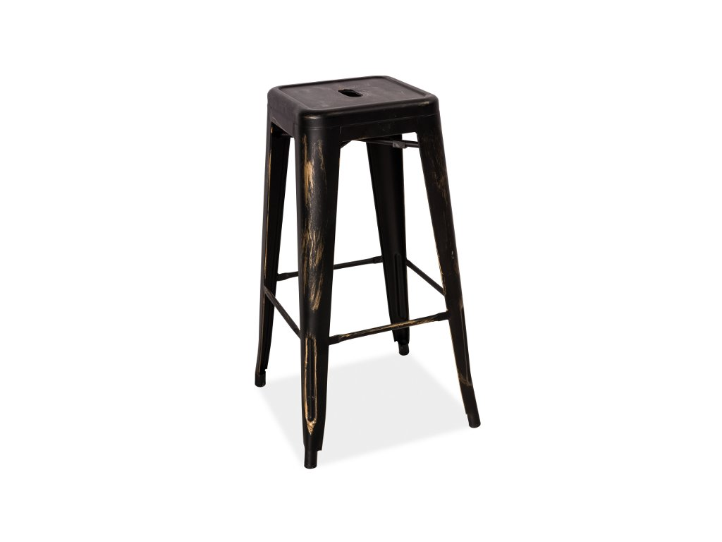 Barová stolička, černá / žíhaná, HOKER LONG