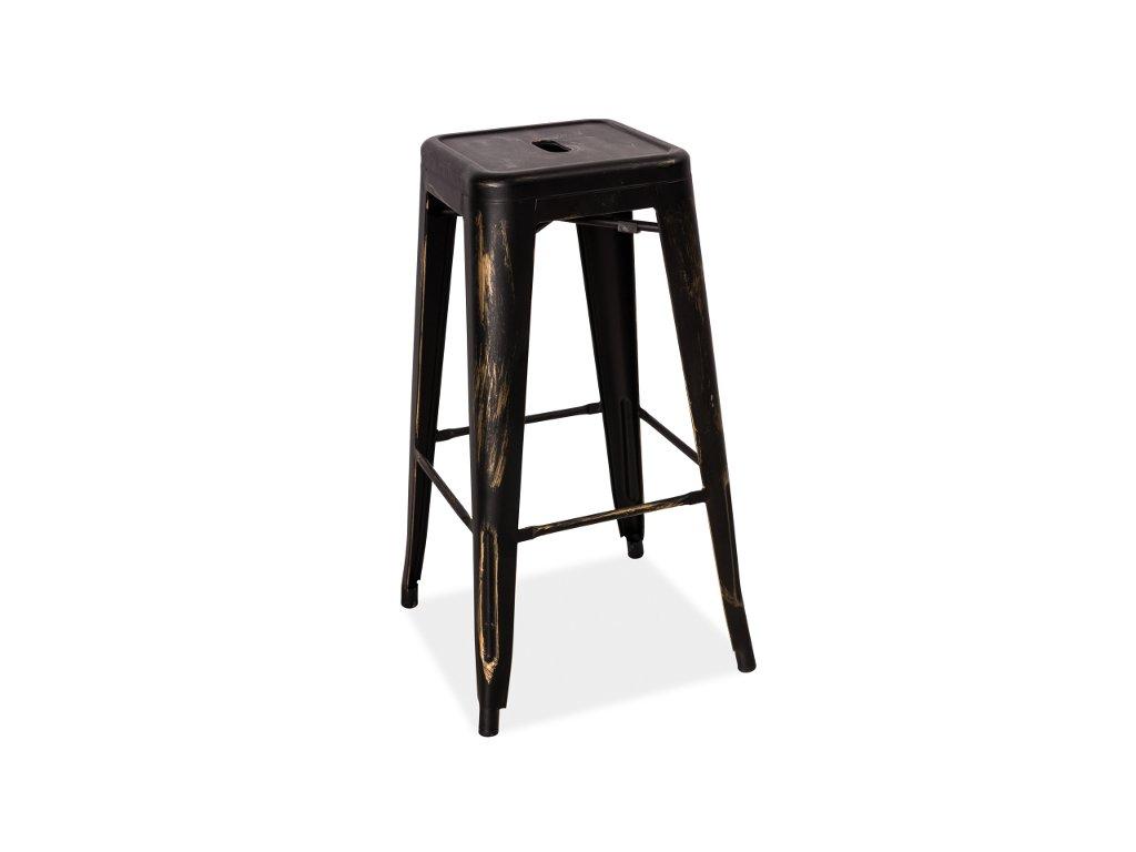 Černá žíhaná barová židle HOKER LONG