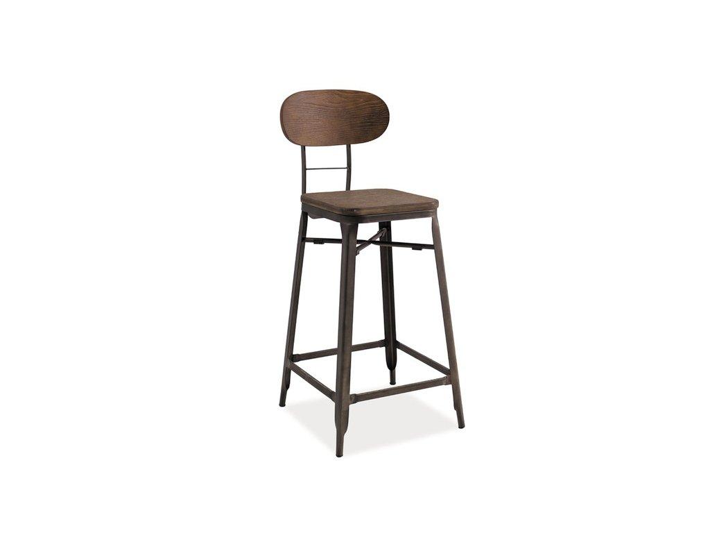 Barová židle z masivního dřeva v dekoru ořech HOKER LOPE