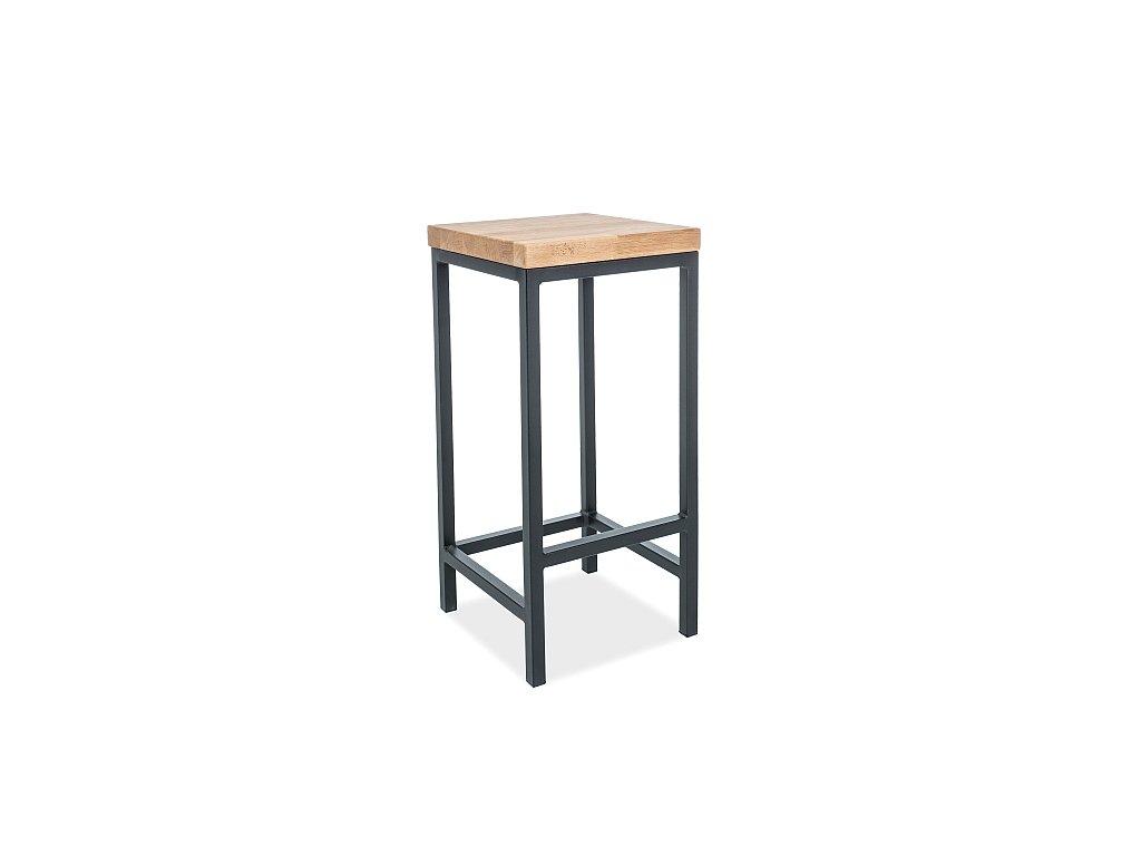 Černá barová židle s deskou v dekoru dub HOKER METRO H-1