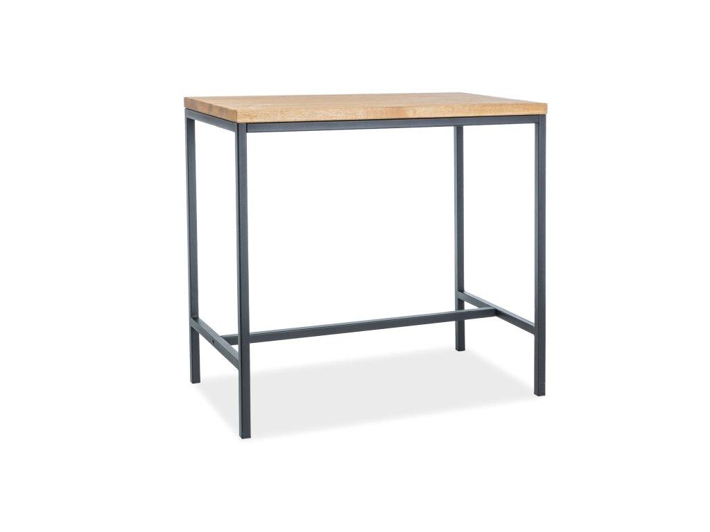 Barový stolek s dubovou deskou METRO 110x60x100