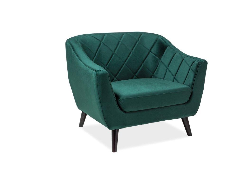 Relaxační křeslo, zelený samet / wenge, MOLLY 1 VELVET