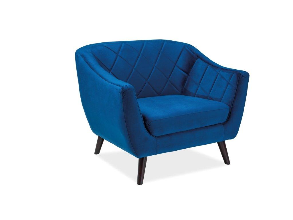 Modré relaxační křeslo MOLLY 1 VELVET