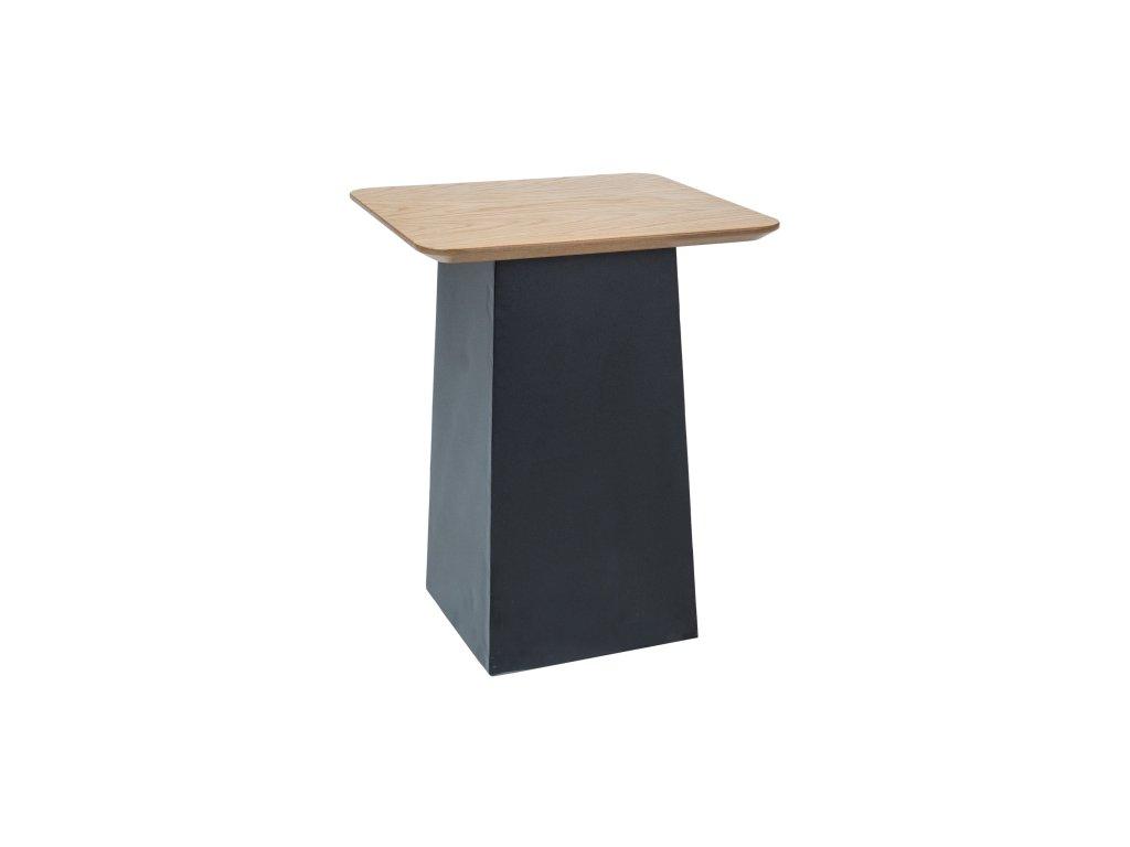 Černý příruční stolek s deskou v dekoru dub TOM