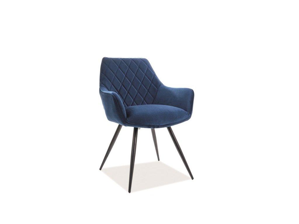 Tmavě modrá židle LINEA VELVET