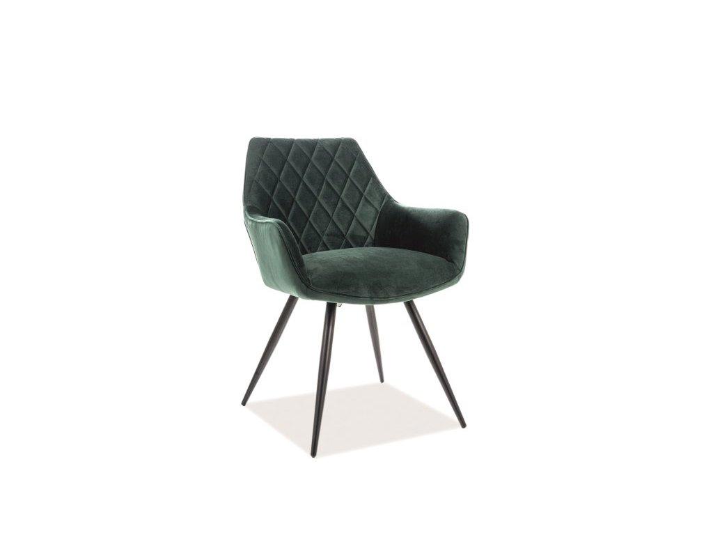 Židle, zelený samet / černá, LINEA VELVET