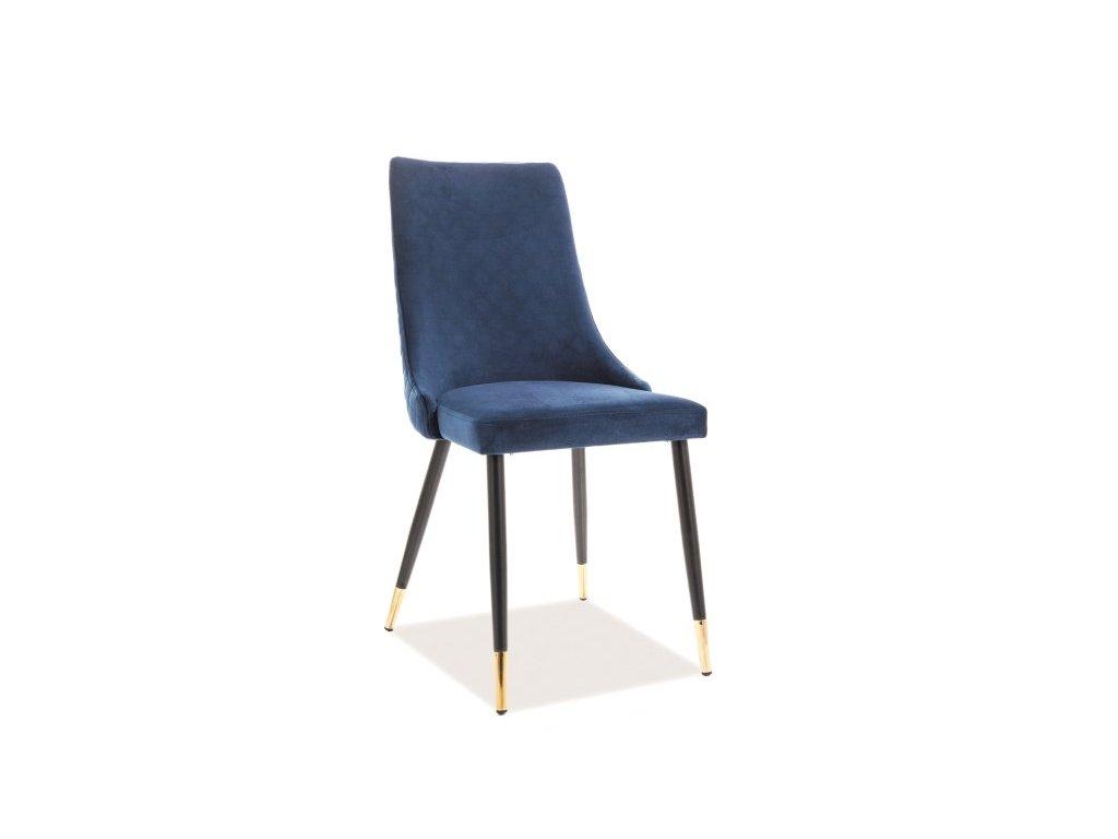 Židle, tmavě modrý samet / černá / zlatá, PIANO VELVET