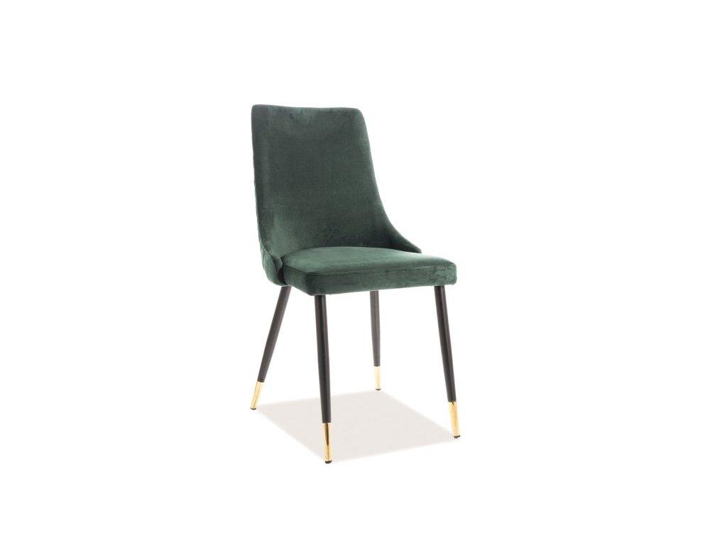 Židle, zelený samet /černá / zlatá, PIANO VELVET