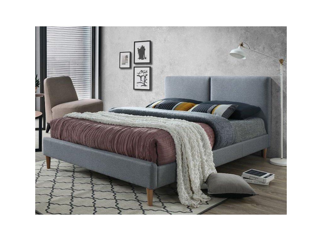 Dvoulůžková postel, šedá/dub, ACOMA 160X200