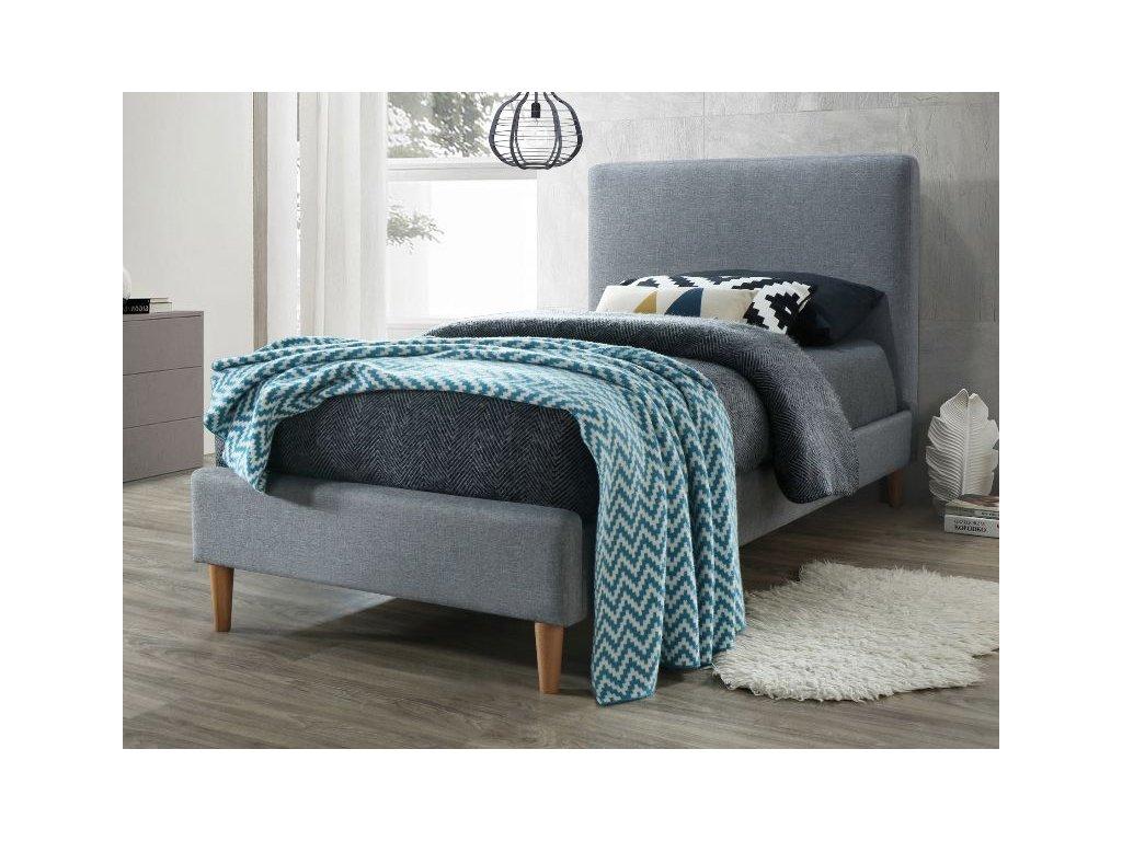 Jednolůžková postel, šedá/dub, ACOMA 90x200