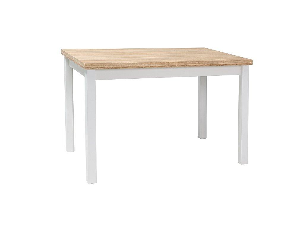 Bílý jídelní stůl s deskou v dekoru dub ADAM 120x68