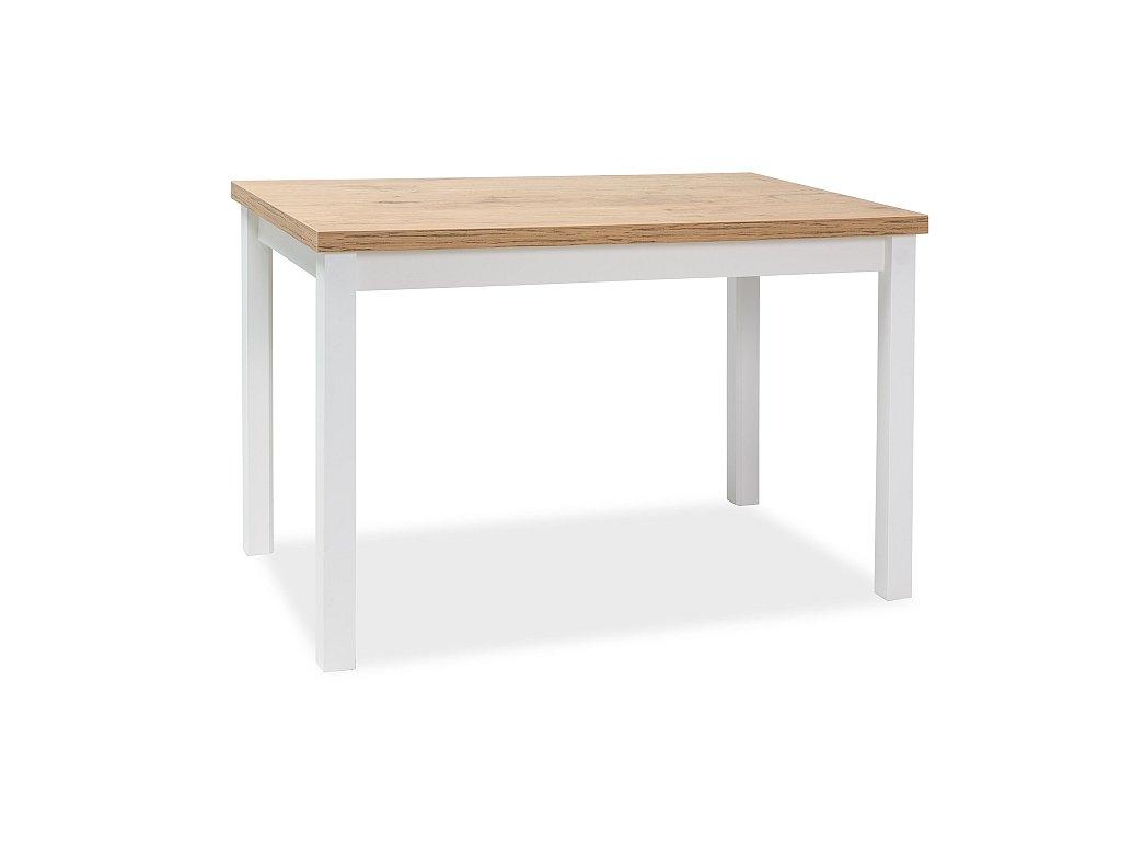 Bílý jídelní stůl s deskou v dekoru dub lancelot ADAM 120x68
