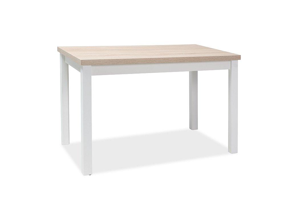 Bílý jídelní stůl s deskou v dekoru dub sonoma ADAM 120x68