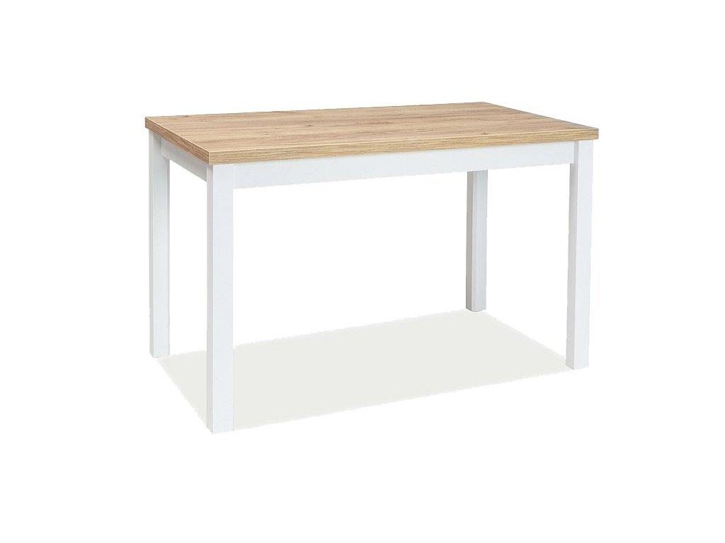 Bílý jídelní stůl s deskou v dekoru dub zlatý craft ADAM 100x60