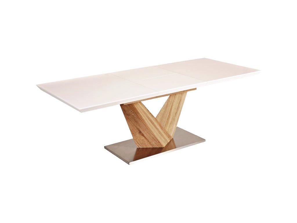 Jídelní stůl, bílý lak / dub, ALARAS 160(220)X90