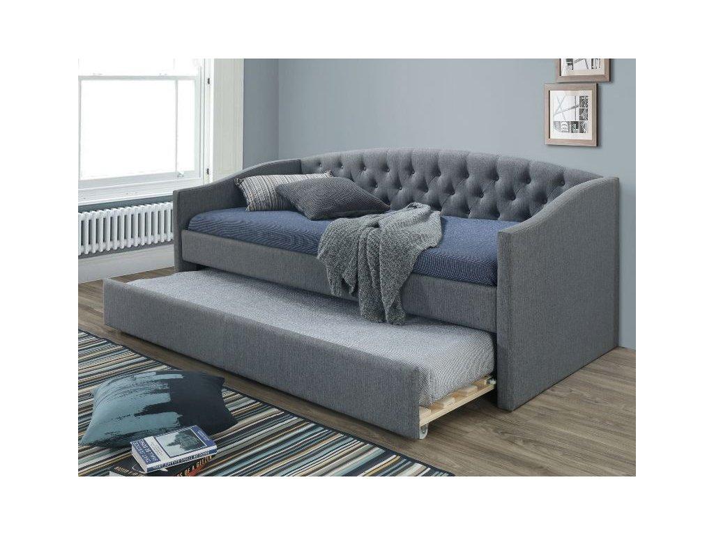 Čalouněná postel, šedá/dub, ALESSIA 90X200