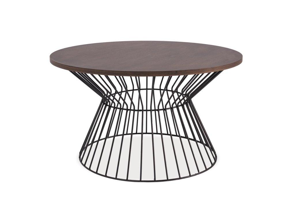 Černý konferenční stolek s deskou v dekoru ořech ALTA