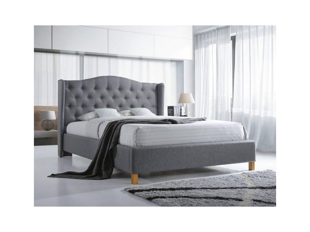 Šedá čalouněná postel ASPEN 180 x 200 cm