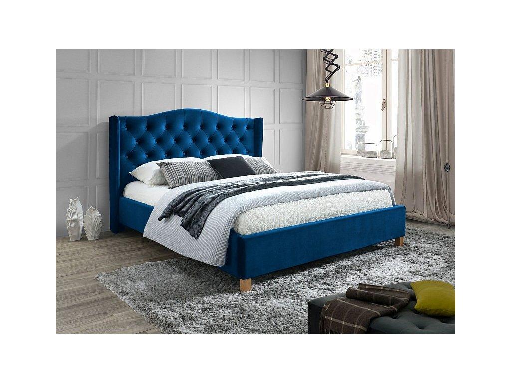 Čalouněná postel, modrý samet/dub, ASPEN 160x200