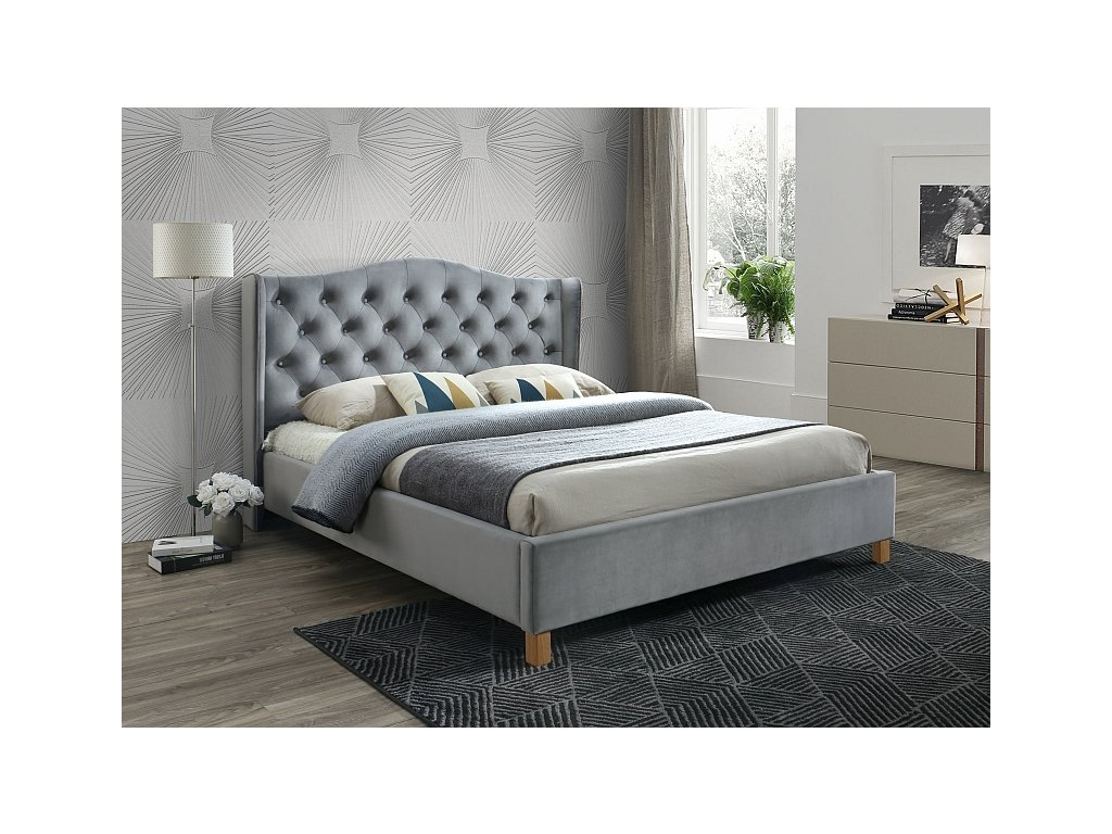 Čalouněná postel, šedá/samet/dub, ASPEN 160x200